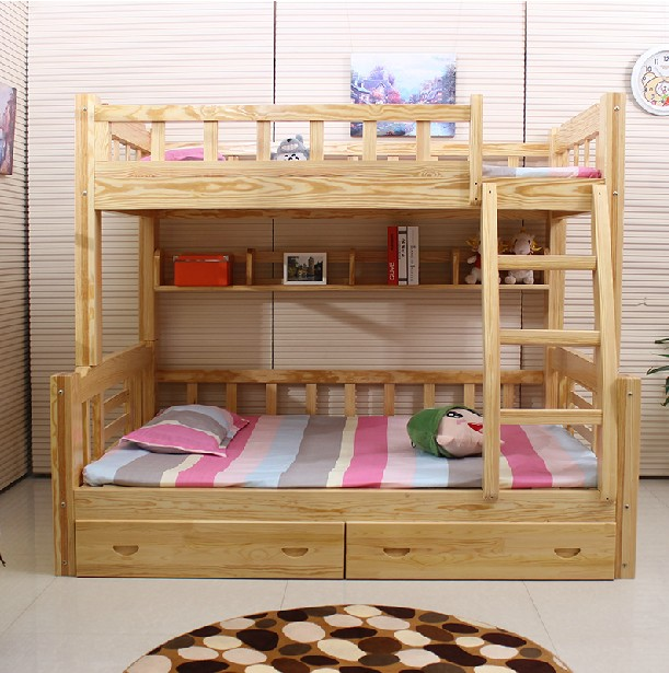 Shipping wood bunk bed under the level of children's mother bed bunk bed and bed mattress to send