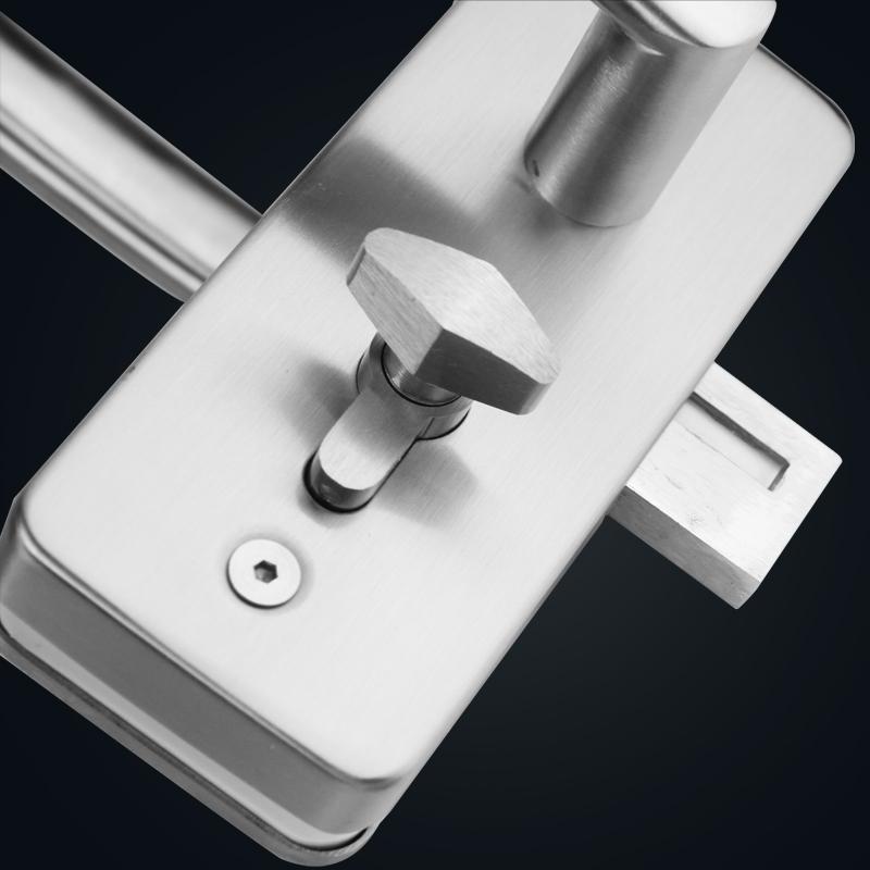 Poignée de verrouillage de porte un grand verre de poignée de verrouillage de porte double verrouillage de verre de la salle de bains de verre en acier inoxydable de verrouillage central