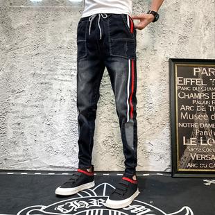 夏季社会精神小伙裤子男韩版修身小脚裤快手网红同款束脚牛仔裤潮