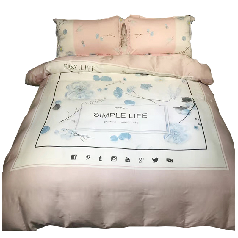 Four sets of double-sided silk Tencel summer four piece quilt summer Liangsi sliding naked 1.8m fitted bedding
