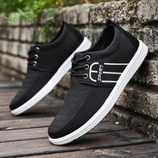 春季透气帆布鞋男韩版潮流板鞋老北京布鞋男士低帮休闲鞋上班鞋子