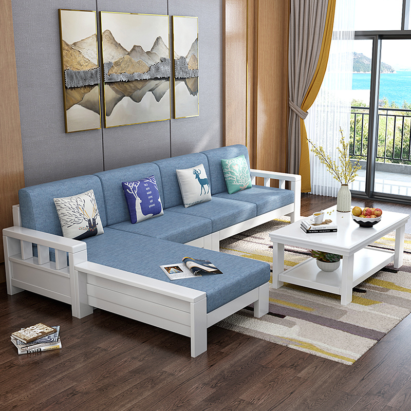 Solid wood sofa, combination living room, new Chinese style rubber wood furniture, simple modern small apartment, Royal cloth sofa bed