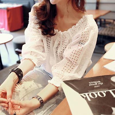 短款露肩一字肩上衣学生女韩版百搭夏季荷叶边短袖一字领蕾丝小衫