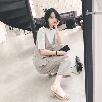 Summer Dress Harajuku bf style trendy suit camisole wide leg pants two sets