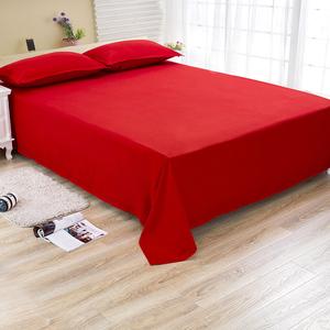 单件简约纯色磨毛隔脏床单床罩单人学生宿舍大红色喜庆床上用品