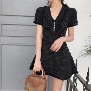 2018夏季新款气质V领流苏高腰裙子短裙修身显瘦短袖A字连衣裙女装