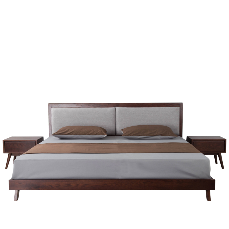 Nordic oak black walnut solid bed, Japanese style 1.8 meters double soft bed, 1.5 meters bedroom bedroom furniture