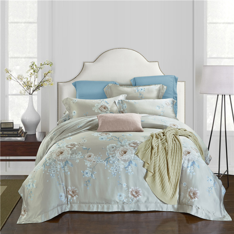 Pure Tencel double-sided four piece genuine spring bedding 1.5 pastoral bed linen bedding fitted 1.8m