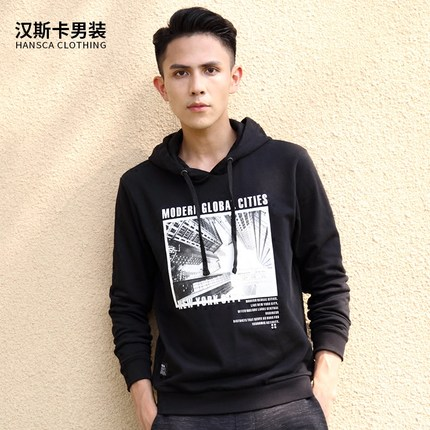 In the autumn of 2017 new Hansca Hanska hooded hoodies printed black male leisure sports sweater
