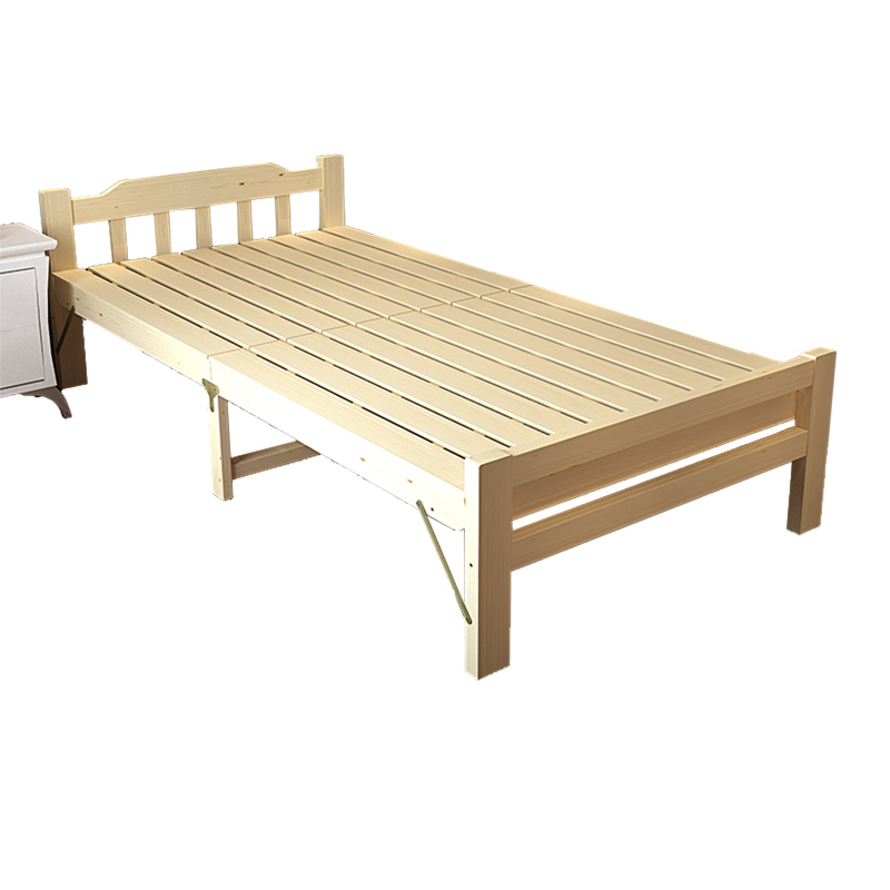 Wood folding bed simple nap bed 1.2 meters simple double bed folding bed children nap pine plank bed