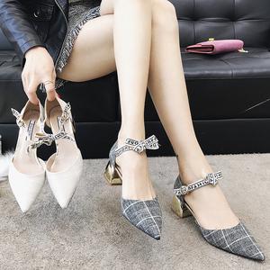 尖头单鞋女春季2018新款韩版百搭网红小清新高跟鞋少女夏粗跟凉鞋