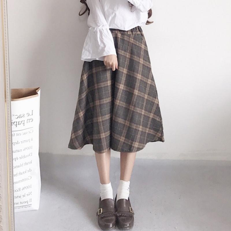 秋裝新款日繫軟妹復古毛呢格子A字裙百搭高腰中長裙半身裙女學生