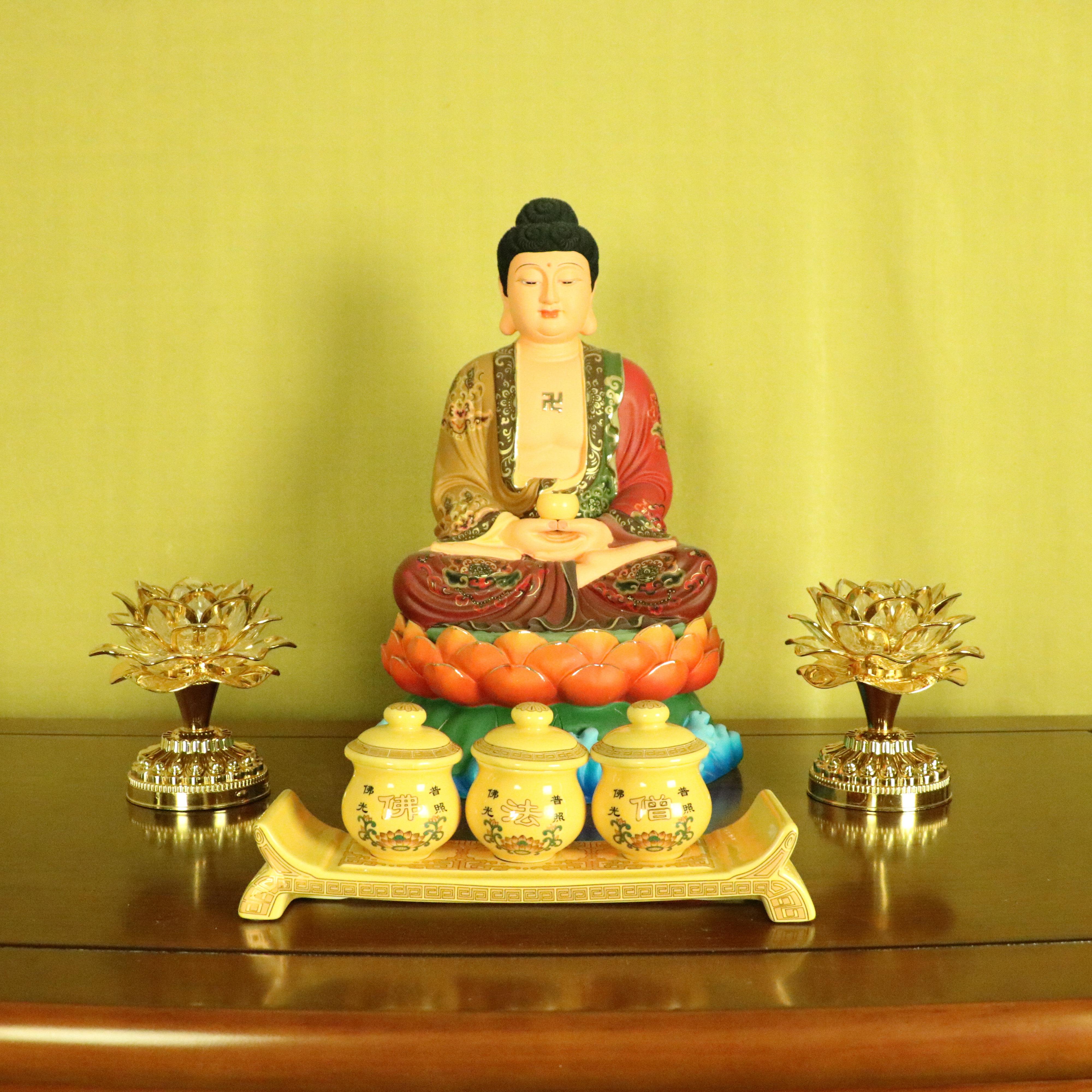 12寸開光樹脂彩繪大日如來佛祖佛像供奉擺件釋迦牟尼佛家用客廳裝飾品