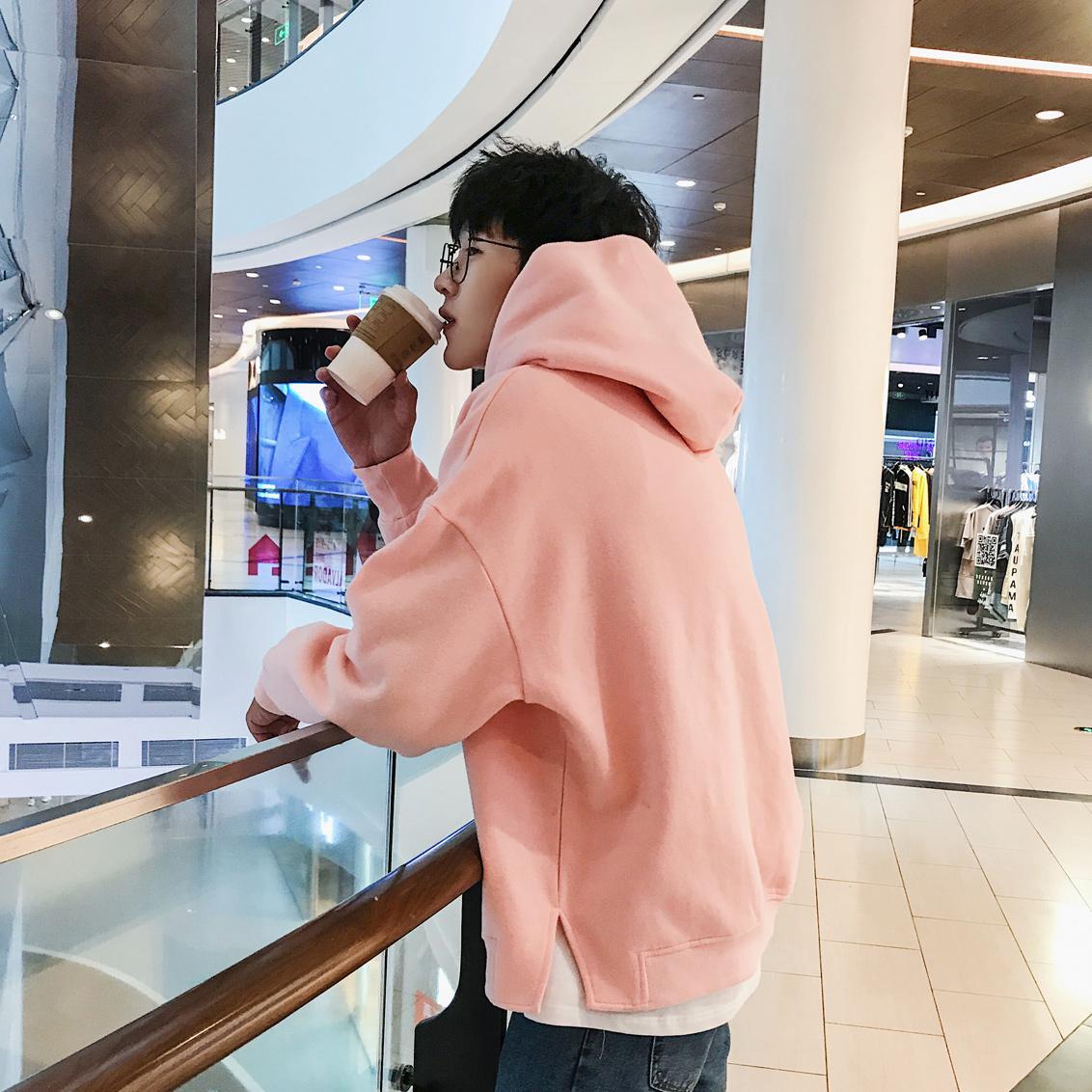 秋季2017新款加绒连帽卫衣男士韩版潮流粉色学生外套长袖套头衣服