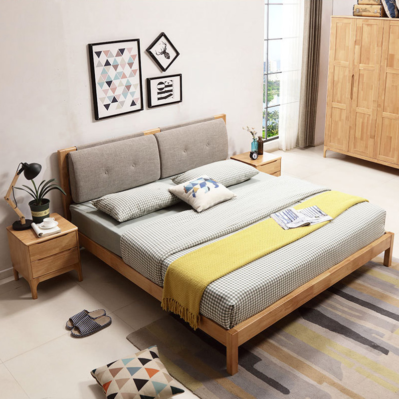 All solid wooden box, bed 1.8 meters, 1.5 high box storage bed, Nordic double oak, modern simple bed