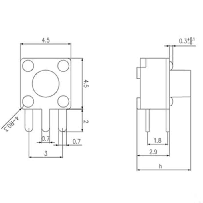 (50) Seite in der 4.5x4.5x3.8mm High Touch - tasten microswitch Seite 3 fuß