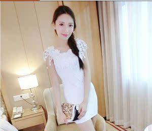 4725#春夏新款 歐洲站 性感夜店裝 蕾絲花邊一字領 包臀連衣裙