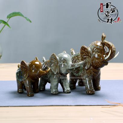 一套3個陶瓷大象小擺件 色釉陶瓷高檔工藝品 書房隔板裝飾品外貿新品