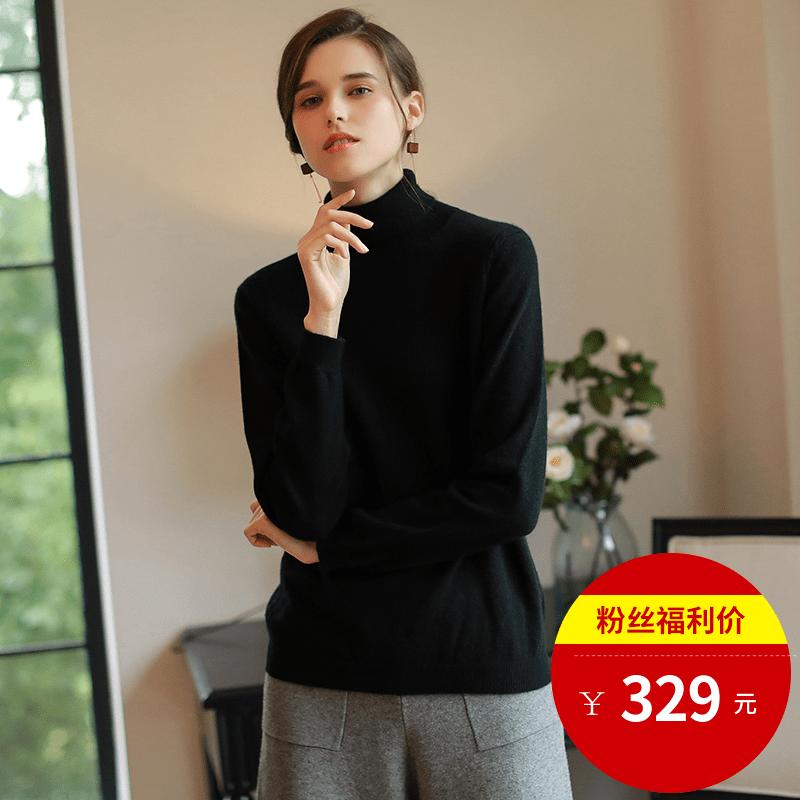 Crefinity Mulheres caxemira camisola de gola Alta de Malha camisola casaco de outono e inverno novo primer camisa preta