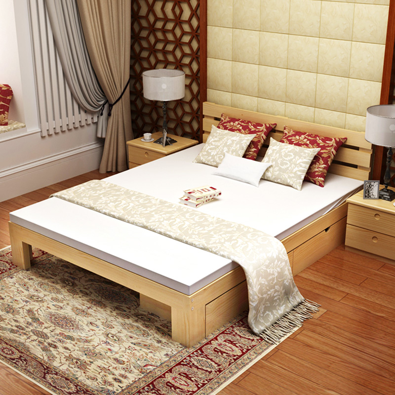 Durable solid wood bed bed frame bed drawer assembly non-toxic single bed mattress containing double bed mattress