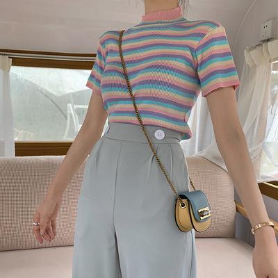 实拍4472#冰激凌色系夏日条纹修身针织衫短款T