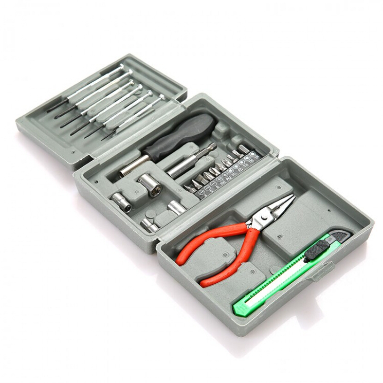 Household mini multifunctional toolbox, hardware tool kit, car mounted maintenance, disassembly screwdriver
