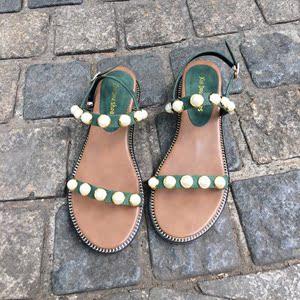 2018坡跟凉鞋女夏新款中跟珍珠鞋露趾镂空亚博开户学生