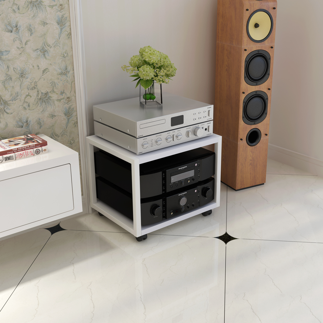Utility cabinet frame solid wood sound equipment frame KTV video TV cabinet sound box foot metal cabinet