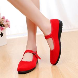 成人老北京布鞋高跟软底防滑儿童跳舞鞋民族秧歌黑色广场舞蹈鞋女