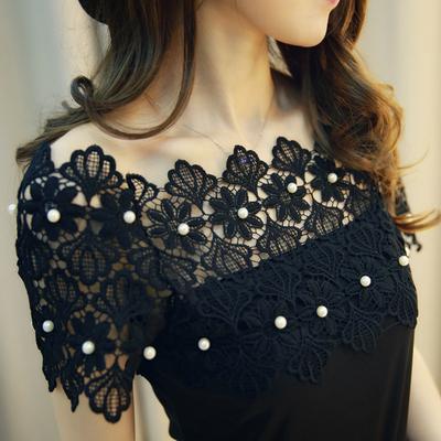 19新款韩版一字领露肩短袖T恤花边领拼钉珠蕾丝衫性感一字肩上衣
