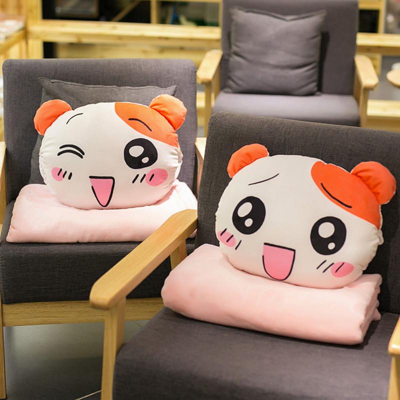 多機能昼寝枕抱き枕カバー、可愛い韓国アニメオフィス自動車クッションコーラル