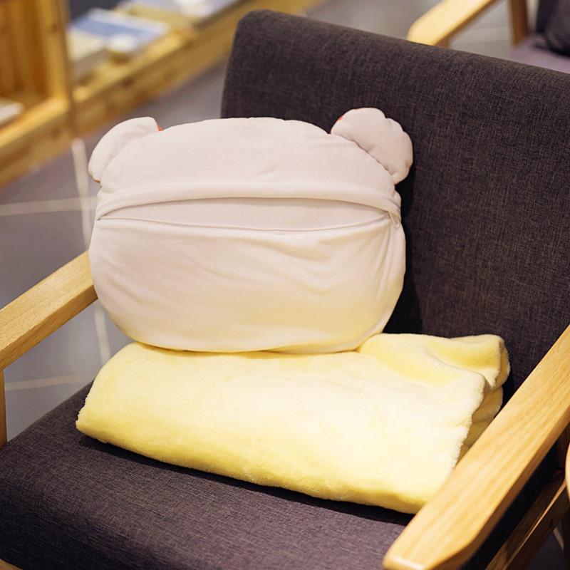 枕枕掛け布団両用自動車ハムスター昼寝珊瑚絨の腰のクッションクッションエアコン毛布三合れ
