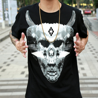 MB wings T-shirt Short Sleeve Black Harajuku Street loose size T-shirt skull claw couples dress for men and women