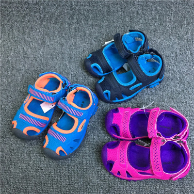 啊圆外贸鞋 出口瑞典男女童小童包头魔术贴沙滩鞋宝宝凉鞋