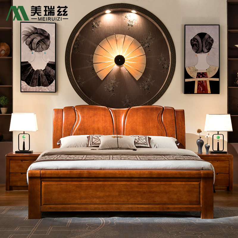New Chinese all solid wood bed, high box, environmental friendly double bed, 1.5 meters, 1.8 meters, modern minimalist oak furniture