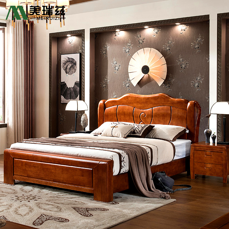 All solid oak wooden modern Chinese bedroom furniture suite double 1.5/1.8 meters