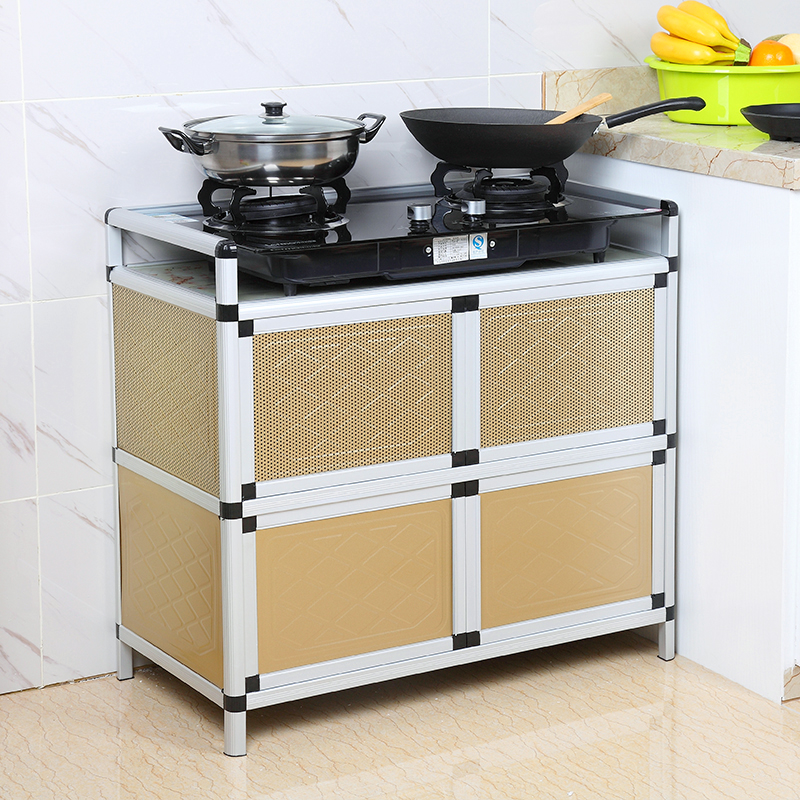 Stainless steel gas oven cabinet, kitchen cabinet, aluminum alloy cabinet, simple kitchen cabinet, microwave oven, electromagnetic oven cabinet
