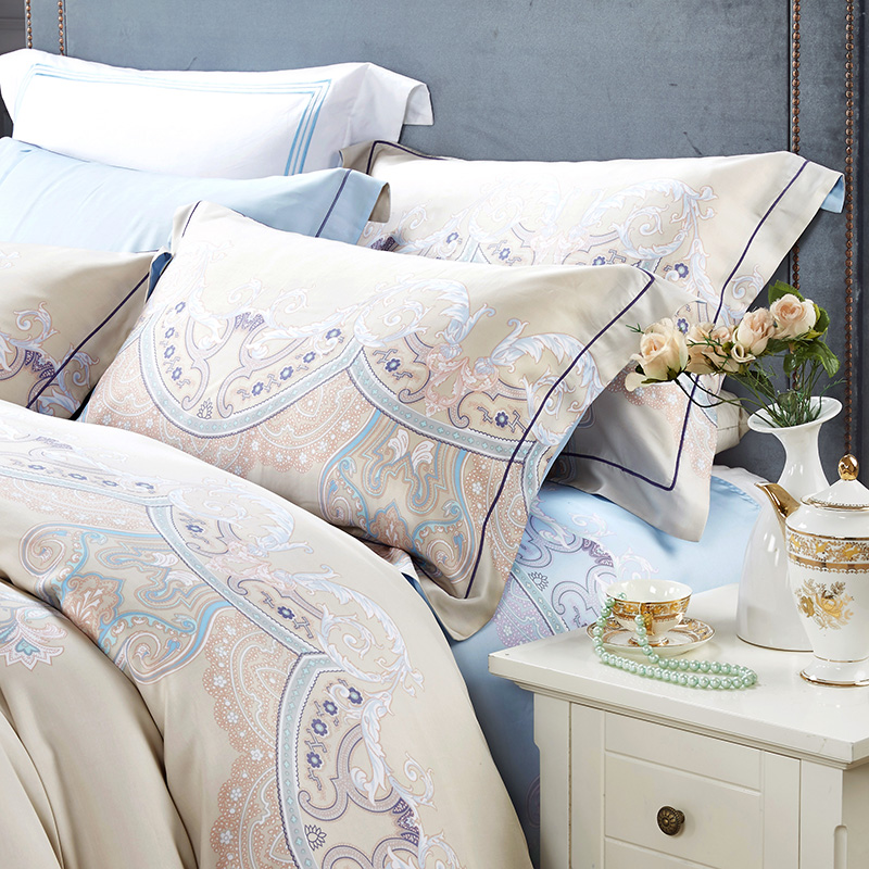 Spring and summer cool soft 60 four piece bedding Tencel Loveland Jane European pattern leather bed standard
