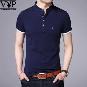 花花公子贵宾短袖t恤男青年韩版修身男士纯色上衣男装打底衫休闲