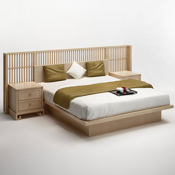 The new Chinese style full of modern Chinese real wood double bedroom bed cloth ash 1.8 meters room furniture