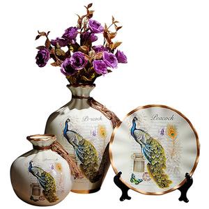 欧式陶瓷仿真花瓶家居摆件客厅桌面电视酒柜博古架创意工艺装饰品
