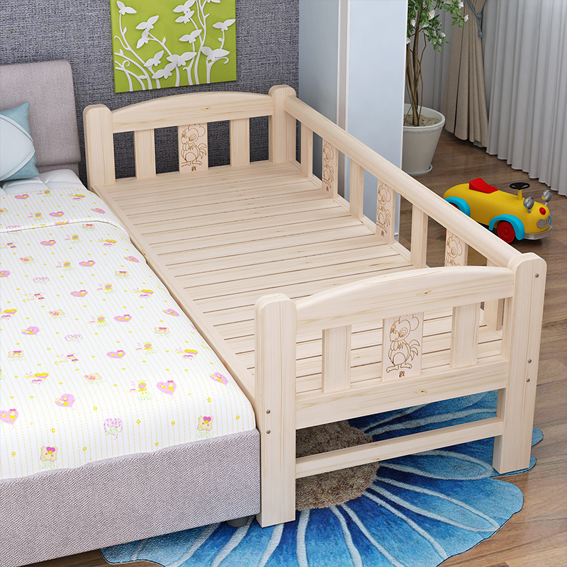 Mail bed, extended bed, extended bed, children's single bed, all solid wood baby bed, pine guardrail, bedside custom made