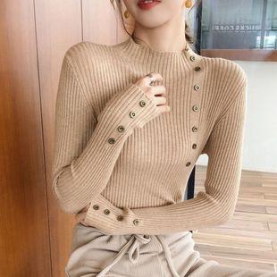纽扣半高领毛衣女打底衫秋冬套头针织衫