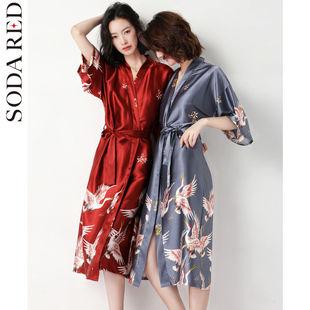 夏季冰丝情侣睡袍套装性感吊带睡裙