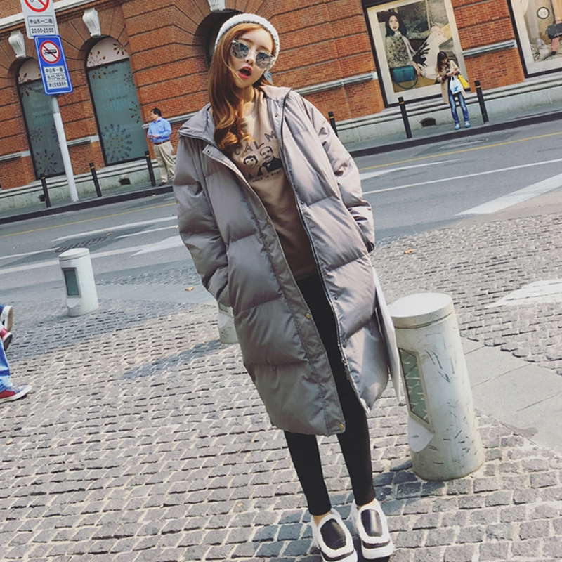 The Korean version of loose in the long winter coat female female BF thick ulzzang bread Harajuku padded knee jacket