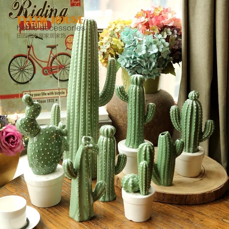特大號柱形高47cm北歐風多肉植物仙人掌仙人球盆栽客廳辦公室落地大擺件家居裝飾品