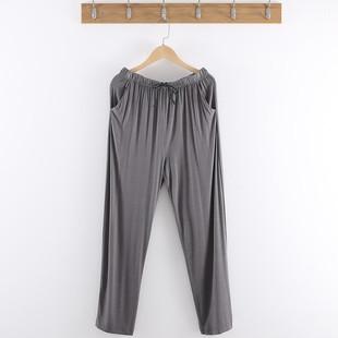 男睡裤莫代尔家居长裤宽松加肥加大码家居裤薄款空调裤休闲裤