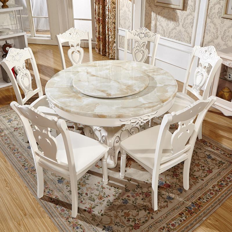 Marbre table table de six chaises en bois massif table table ronde européenne avec disque rotatif circulaire combiné Siège 6 sièges de colis