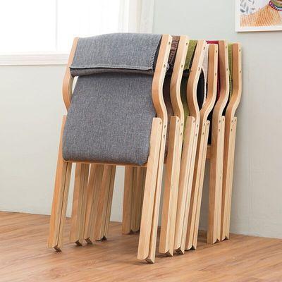 实木折叠椅子拆洗简约家用靠背布艺折叠餐椅办公电脑椅书桌休闲椅