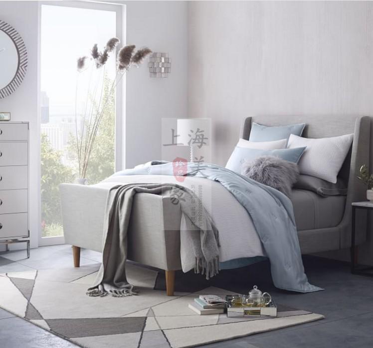 The Nordic minimalist modern designer soft bed Sleigh Bed wood 1.51.8 m Mediterranean double cloth